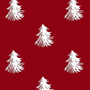 Christmas snowy trees in red