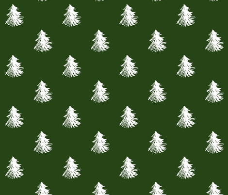 Christmas snowy trees in green fabric by hejamieson on Spoonflower - custom fabric