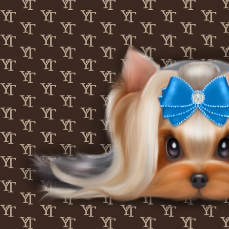 Yorkie Beauty YT Blue XL fabric by catialee on Spoonflower - custom fabric