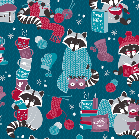 Hygge raccoon V // blue turquoise fabric by selmacardoso on Spoonflower - custom fabric