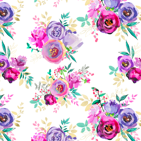 "Purple and Gold Floral Bouquets 7x6"" fabric by greenmountainfabric on Spoonflower - custom fabric"