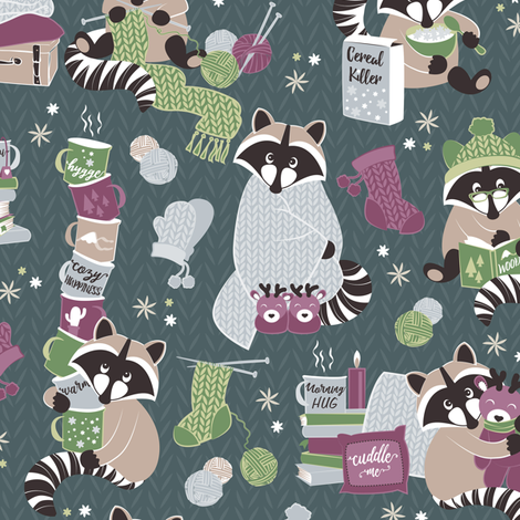 Hygge raccoon VII // green background fabric by selmacardoso on Spoonflower - custom fabric