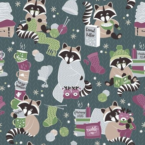 Hygge raccoon VII // green background