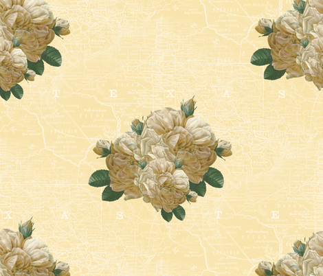 Redoute Yellow Rose of Texas _ Dusty Trails ~ White on Country House  fabric by peacoquettedesigns on Spoonflower - custom fabric