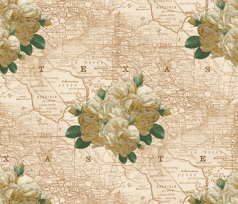 Redoute Yellow Rose of Texas ~ Dusty Trails  fabric by peacoquettedesigns on Spoonflower - custom fabric