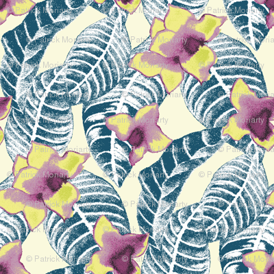 tropical-flower-and-palm-leaf-design-on-cream