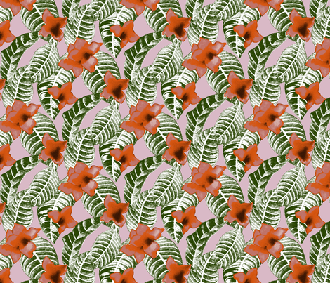 tropical-flower-and-palm-leaf-design-on-pink fabric by paisleypower on Spoonflower - custom fabric