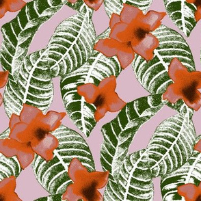 tropical-flower-and-palm-leaf-design-on-pink