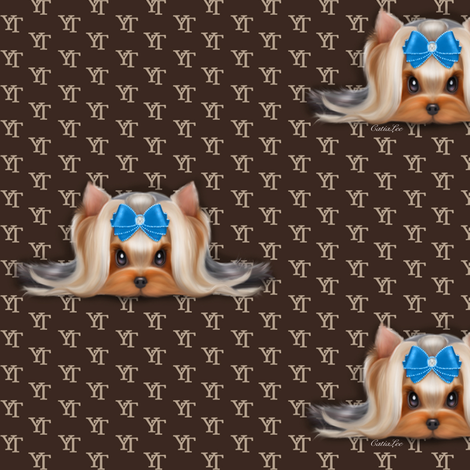 Yorkie Beauty YT Blue M fabric by catialee on Spoonflower - custom fabric