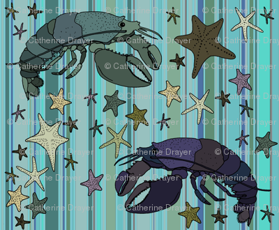 Lobsters on Steampunk Barcode Stripe teal