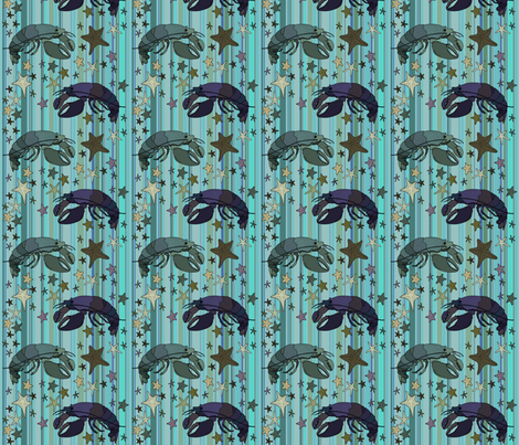 Lobsters on Steampunk Barcode Stripe teal fabric by coppercatkin on Spoonflower - custom fabric