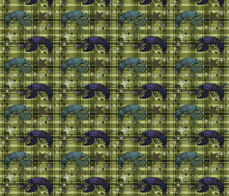 Lobsters on plaid square - olive fabric by coppercatkin on Spoonflower - custom fabric