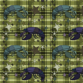 Lobsters on plaid square - olive