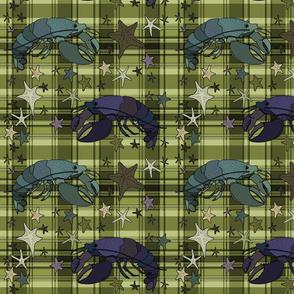 Lobsters on plaid square - olive