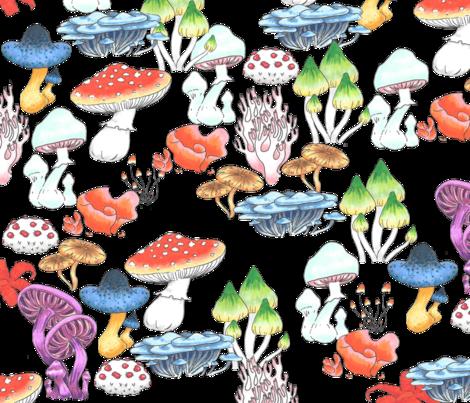 Vibrant Mushrooms fabric by astridmustelid on Spoonflower - custom fabric