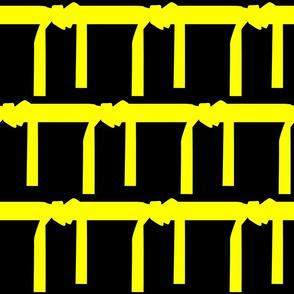 Six Inch Martial Arts Yellow Belt on Black