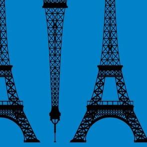 Twelve Inch Black Eiffel Tower on Turquoise Blue