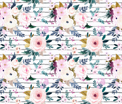 Harper Floral Stripe fabric by crystal_walen on Spoonflower - custom fabric
