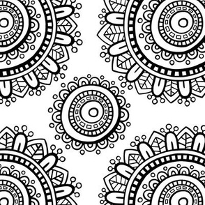 Mandala - Black on White