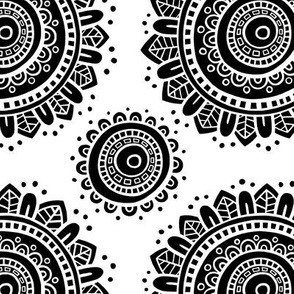 Mandala - White with black on white