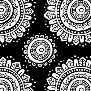Mandala - Black lines on black