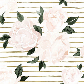 vintage blush floral gold stripe