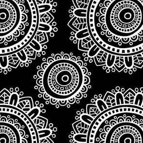 Mandala - White on black