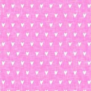 hearts on pink linen || valentines day