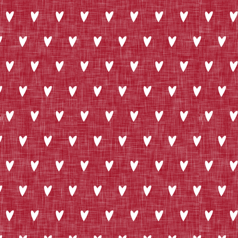 hearts on red linen || valentines day fabric by littlearrowdesign on Spoonflower - custom fabric
