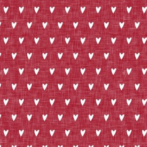 hearts on red linen || valentines day