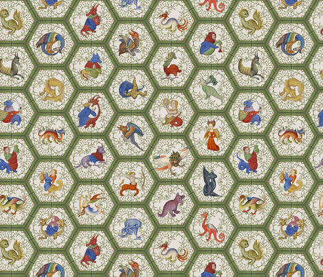 Medieval Creatures -  Green Frame fabric by ameliae on Spoonflower - custom fabric