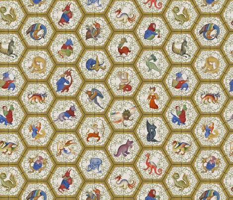 Medieval Creatures -  Yellow Frame fabric by ameliae on Spoonflower - custom fabric