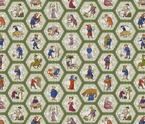Medieval People -  Green Frame fabric by ameliae on Spoonflower - custom fabric