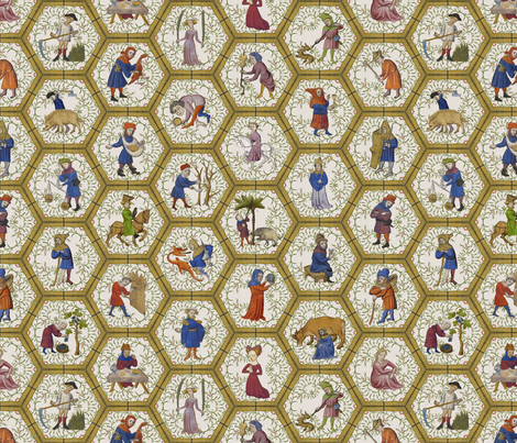 Medieval People - Yellow Frame fabric by ameliae on Spoonflower - custom fabric