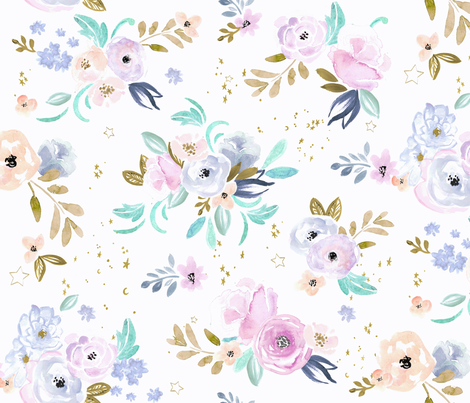 twilight floral and stars fabric by crystal_walen on Spoonflower - custom fabric
