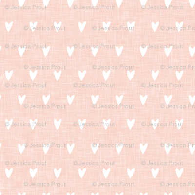 hearts on salmon peach linen || valentines day