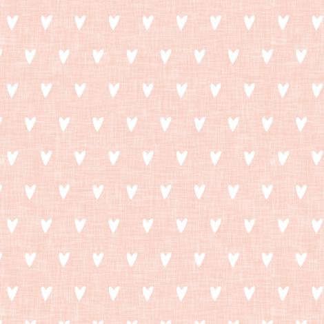 hearts on salmon peach linen || valentines day fabric by littlearrowdesign on Spoonflower - custom fabric