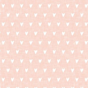 hearts on salmon peach linen || valentines day