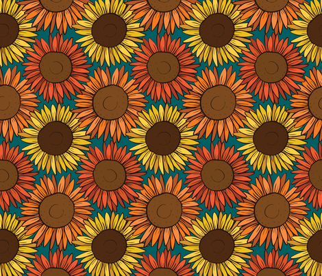 Sunny Sunflowers fabric by charladraws on Spoonflower - custom fabric