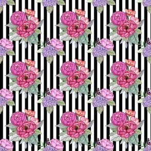 Watercolour floral on stripe Small