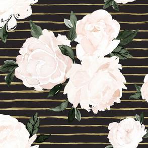 vintage blush floral gold stripe soft black