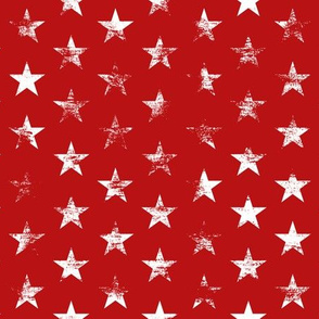 Distressed White Stars on Red (Grunge Vintage 4th of July American Flag Stars)