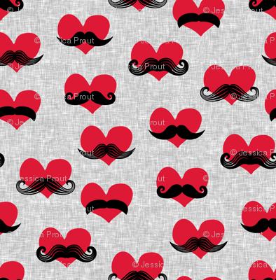 mustache hearts - Valentine's Day fabric
