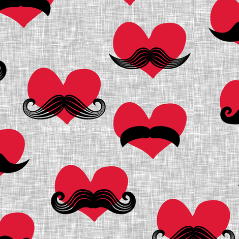mustache hearts - Valentine's Day fabric fabric by littlearrowdesign on Spoonflower - custom fabric