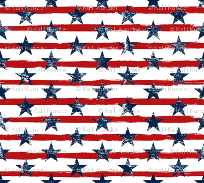 Distressed Navy Stars on Red Stripes (Grunge Painted Vintage Distressed 4th of July American Flag Stripes)