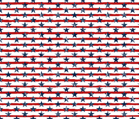 Distressed Navy Stars on Red Stripes (Grunge Painted Vintage Distressed 4th of July American Flag Stripes) fabric by sweeterthanhoney on Spoonflower - custom fabric