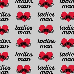 ladies man - grey - mustache fabric