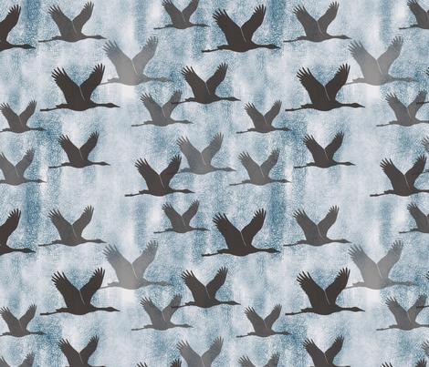 indigo flock of cranes fabric by mrshervi on Spoonflower - custom fabric