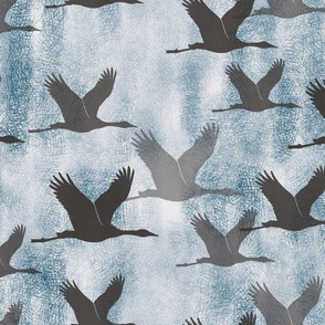 indigo flock of cranes