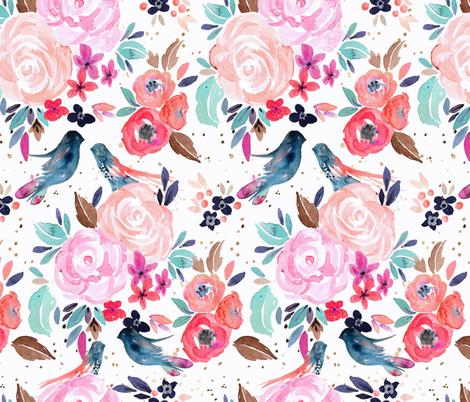 Birdie Blossom02 fabric by crystal_walen on Spoonflower - custom fabric
